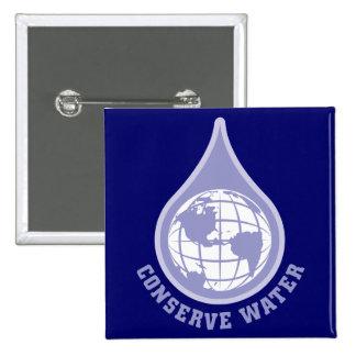 Conserve Water 15 Cm Square Badge