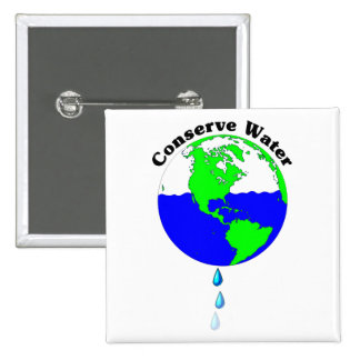 Conserve Water 15 Cm Square Badge