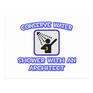 Conserve Water .. Shower With an Architect Postcard
