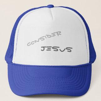 Consider Jesus Christian message text Trucker Hat