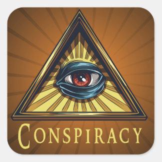 Conspiracy Genre Square Book Cover Sticker Square Sticker