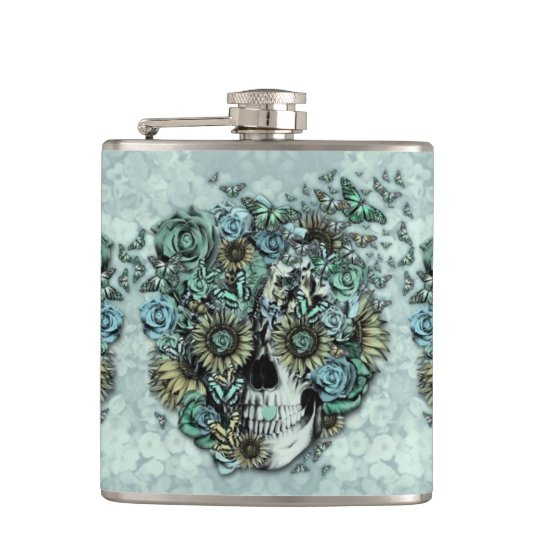 Constant, pale blue butterfly skull hip flask