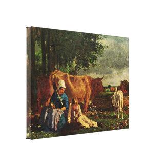 Constant Troyon - pastoral scene Stretched Canvas Prints