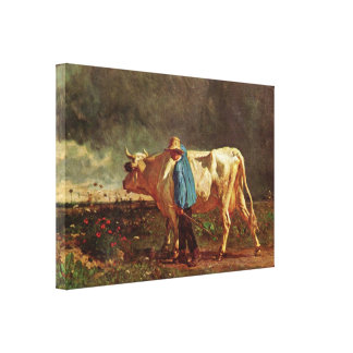 Constant Troyon - The cowherd Stretched Canvas Print