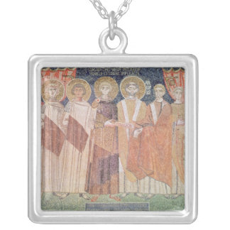 Constantine IV granting Bishop privileges Silver Plated Necklace