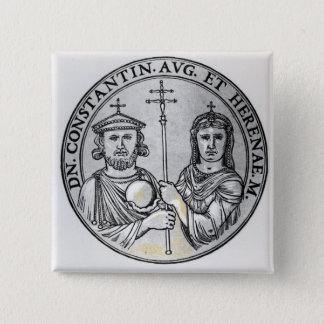 Constantine VI  and his Mother Irene 15 Cm Square Badge