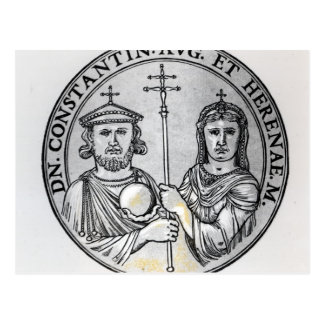 Constantine VI  and his Mother Irene Postcard