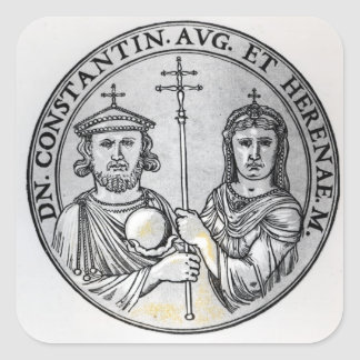 Constantine VI  and his Mother Irene Square Stickers