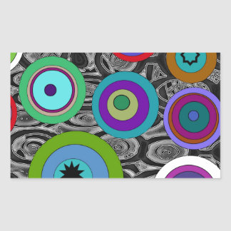 Constantly Circles Rectangular Stickers