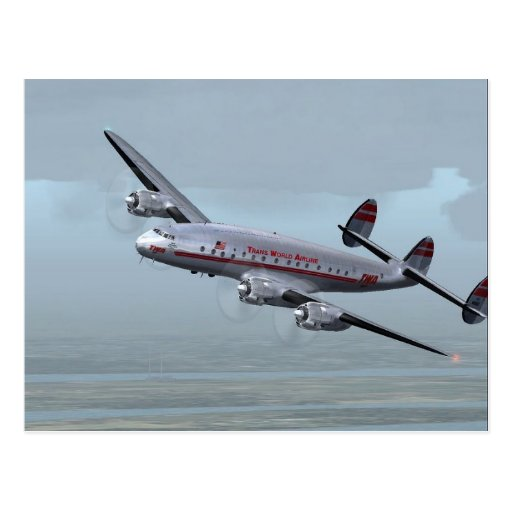 CONSTELLATION AIRPLANE -- AVIATION HISTORY! POST CARD