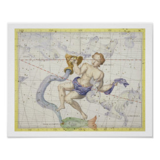 Constellation of Aquarius, plate 9 from 'Atlas Coe Poster