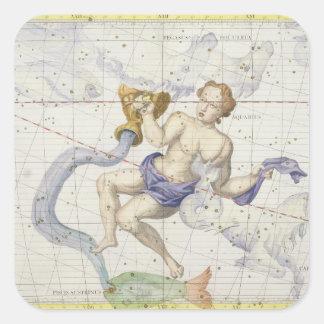 Constellation of Aquarius, plate 9 from 'Atlas Coe Square Sticker