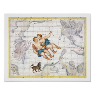 Constellation of Gemini with Canis Minor, plate 13 Poster