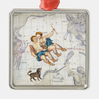 Constellation of Gemini with Canis Minor, plate 13 Silver-Colored Square Decoration