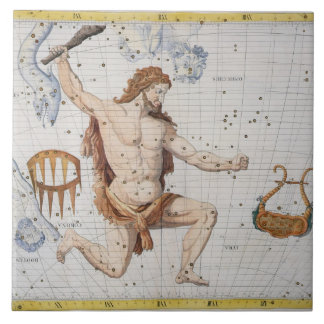 Constellation of Hercules with Corona and Lyra, pl Large Square Tile