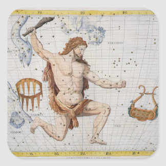 Constellation of Hercules with Corona and Lyra, pl Square Sticker