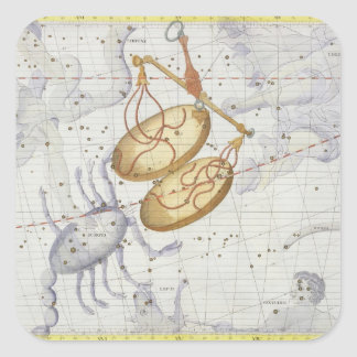 Constellation of Libra, plate 7 from 'Atlas Coeles Square Sticker