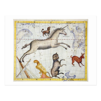 Constellation of Monoceros with Canis Major and Mi Postcard