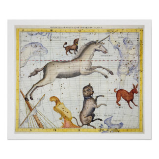 Constellation of Monoceros with Canis Major and Mi Poster