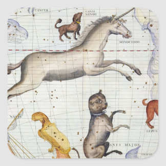 Constellation of Monoceros with Canis Major and Mi Square Sticker