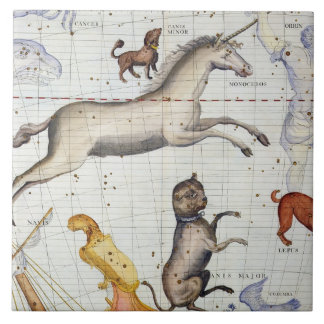 Constellation of Monoceros with Canis Major and Mi Ceramic Tiles