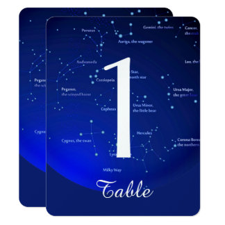 Constellation on Blue Wedding Table Number Card
