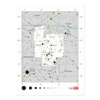Constellation Orion The Hunter Chart Postcard