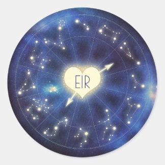 Constellation Zodiac Starry Night Wedding Classic Round Sticker