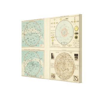 Constellations, Solar System, Moon Canvas Print