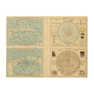 Constellations, Solar System, Moon Wood Wall Art