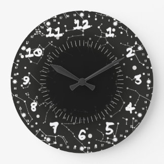 Constellations White and Black Large Clock