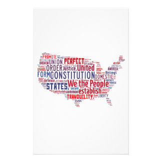 Constitution of the United States in Shape of USA Stationery Design