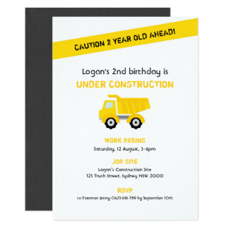 Construction Birthday Invitation, White Card