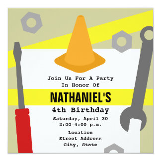Construction Birthday Party Invite - Tools & Cone