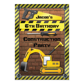 Construction Birthday Party Tools and Diggers 13 Cm X 18 Cm Invitation Card