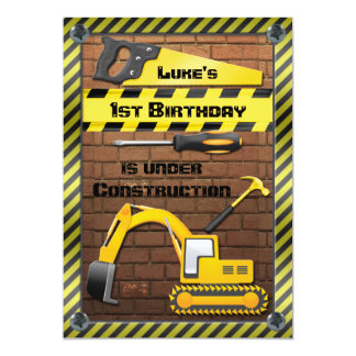Construction Birthday Party Tools and Diggers Card