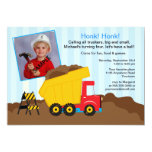 Construction Birthday Party with Photo Personalized Invitations