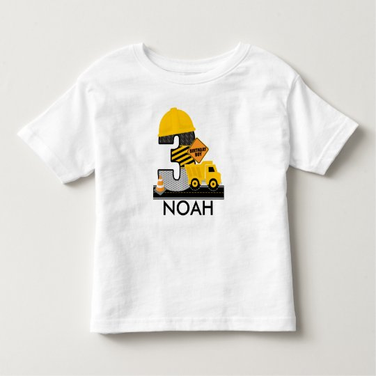 Construction Birthday Shirt, Dump Truck Age 3 Toddler