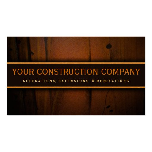 Construction Builder Contractor Wood Business Card Business Cards