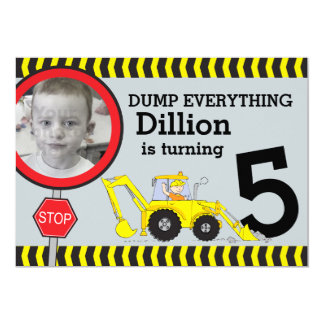 Construction building boys birthday party invite