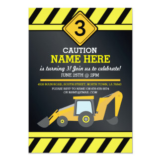 Construction Building Digger Birthday Party Invite