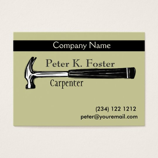 Construction Carpenter Artistic Hammer Drawing Business Card