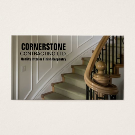 Construction Carpentry Contractor Staircase Trims Business Card