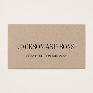 Construction company minimalist business card