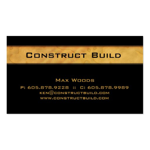 Construction Contractor Business Card Wood Grain