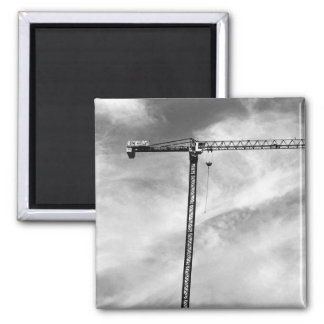 Construction Crane Square Magnet