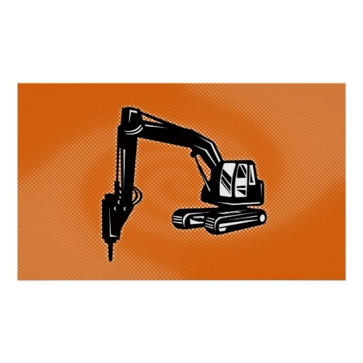 construction digger mechanical excavator poster