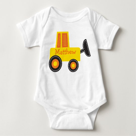 Construction Digger Personalised Baby T-Shirt