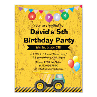 Construction Dump Truck Boy Birthday Party Card