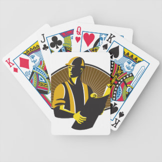 Construction Engineer Worker Building Plan Retro Bicycle Playing Cards